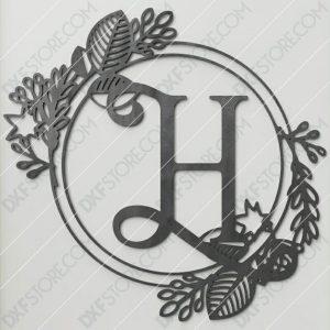 Monogram Plaque Letter H Decorative Floral Frame SVG File for CNC Plasma Cut