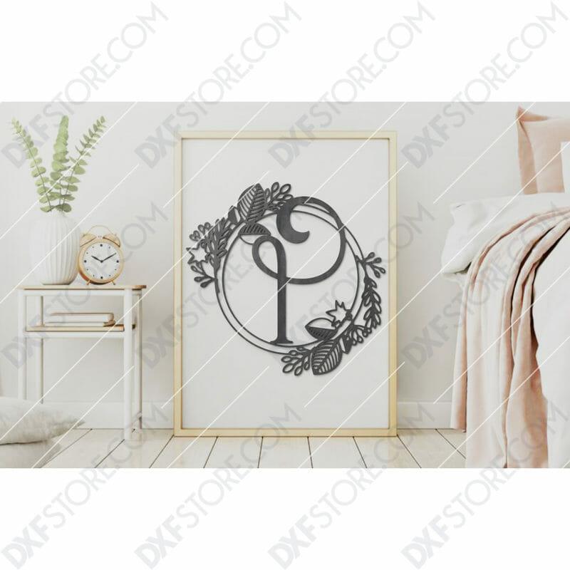 Monogram Plaque Letter I Decorative Floral Frame SVG File for CNC Plasma Cut
