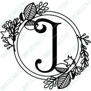 Monogram Plaque Letter J Decorative Floral Frame DXF File Cut-Ready for CNC