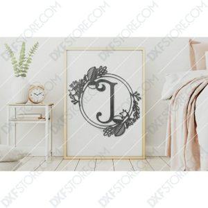 Monogram Plaque Letter J Decorative Floral Frame SVG File Plasma and Laser Cut