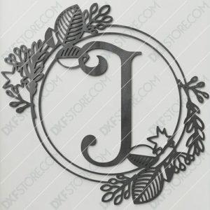 Monogram Plaque Letter J Decorative Floral Frame SVG File for CNC Plasma Cut