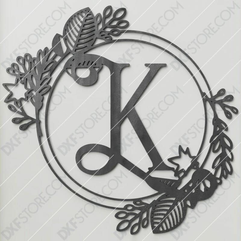 Monogram Plaque Letter K Decorative Floral Frame DXF File Cut-Ready for CNC