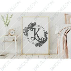 Monogram Plaque Letter K Decorative Floral Frame DXF File Cut-Ready for CNC Plasma Cut