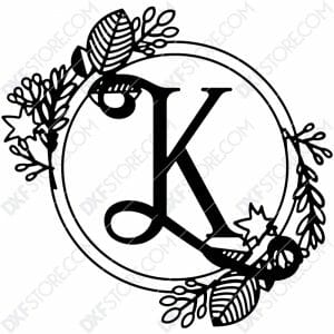 Monogram Plaque Letter K Decorative Floral Frame SVG File for CNC Plasma Cut