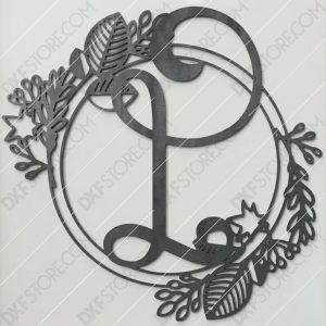 Monogram Plaque Letter L Decorative Floral Frame CNC Plasma Cut SVG File