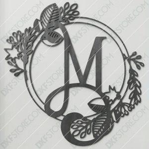 Monogram Plaque Letter M Decorative Floral Frame CNC Plasma Cut DXF File