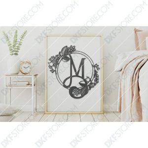 Monogram Plaque Letter M Decorative Floral Frame Plasma Cut DXF File Cut-Ready