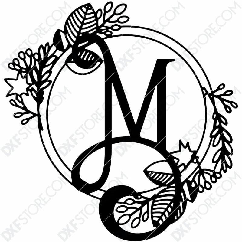 Monogram Plaque Letter M Decorative Floral Frame Plasma and Laser Cut DXF File for CNC