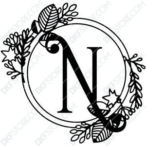 Monogram Plaque Letter N Decorative Floral Frame CNC Cut-Ready DXF File