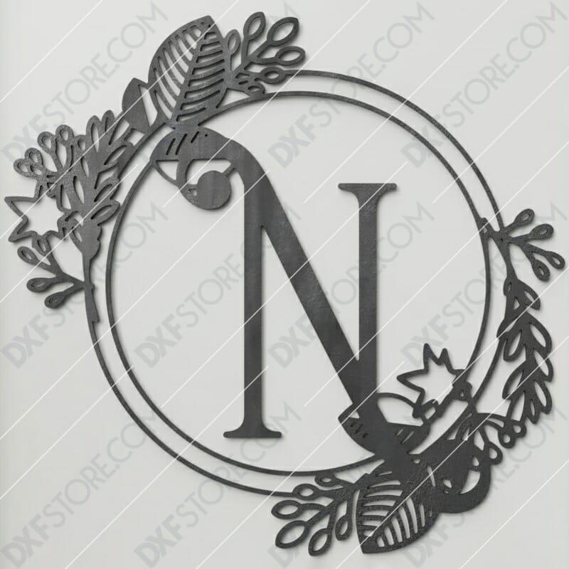 Monogram Plaque Letter N Decorative Floral Frame Plasma Cut DXF File Cut-Ready