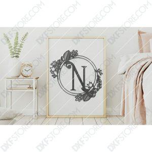Monogram Plaque Letter N Decorative Floral Frame Plasma and Laser Cut DXF File for CNC
