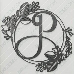Monogram Plaque Letter P Decorative Floral Frame Plasma and Laser Cut DXF File for CNC