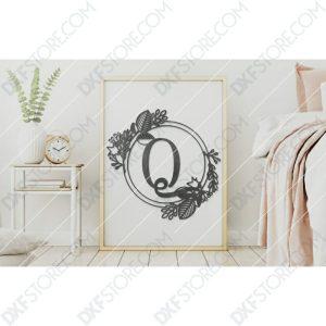 Monogram Plaque Letter Q Decorative Floral Frame Plasma Cut DXF File Cut-Ready