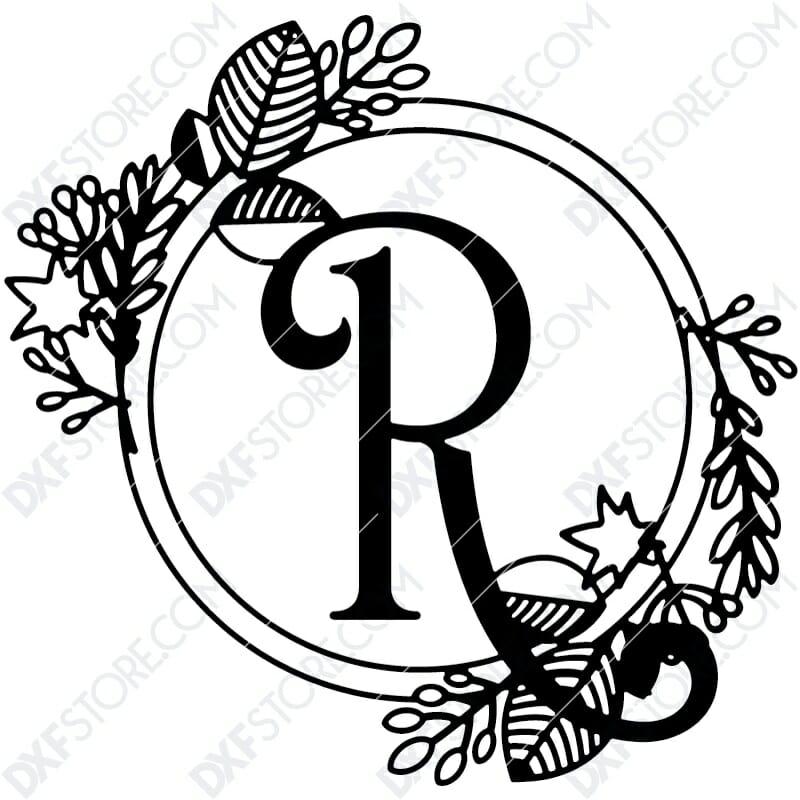 Monogram Plaque Letter R Decorative Floral Frame CNC Cut-Ready DXF File