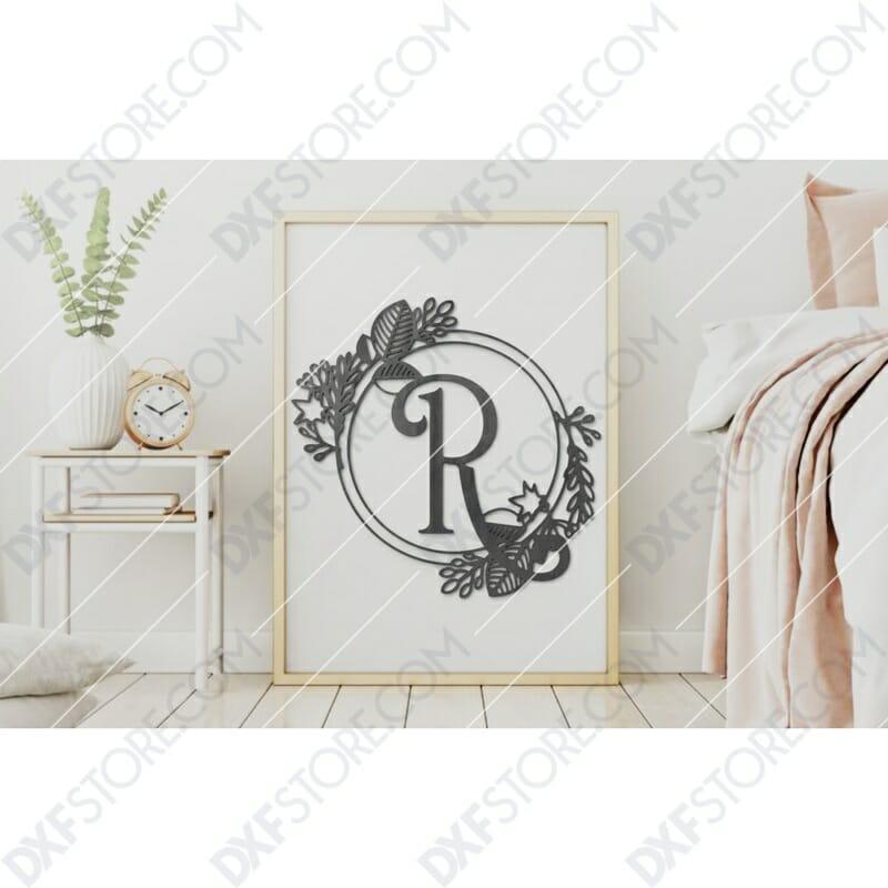 Monogram Plaque Letter R Decorative Floral Frame Plasma Cut DXF File Cut-Ready