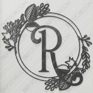 Monogram Plaque Letter R Decorative Floral Frame Plasma and Laser Cut DXF File for CNC