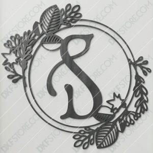 Monogram Plaque Letter S Decorative Floral Frame CNC Cut-Ready DXF File