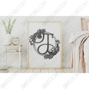 Monogram Plaque Letter T Decorative Floral Frame CNC Cut-Ready DXF File