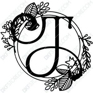Monogram Plaque Letter T Decorative Floral Frame Plasma Cut DXF File Cut-Ready