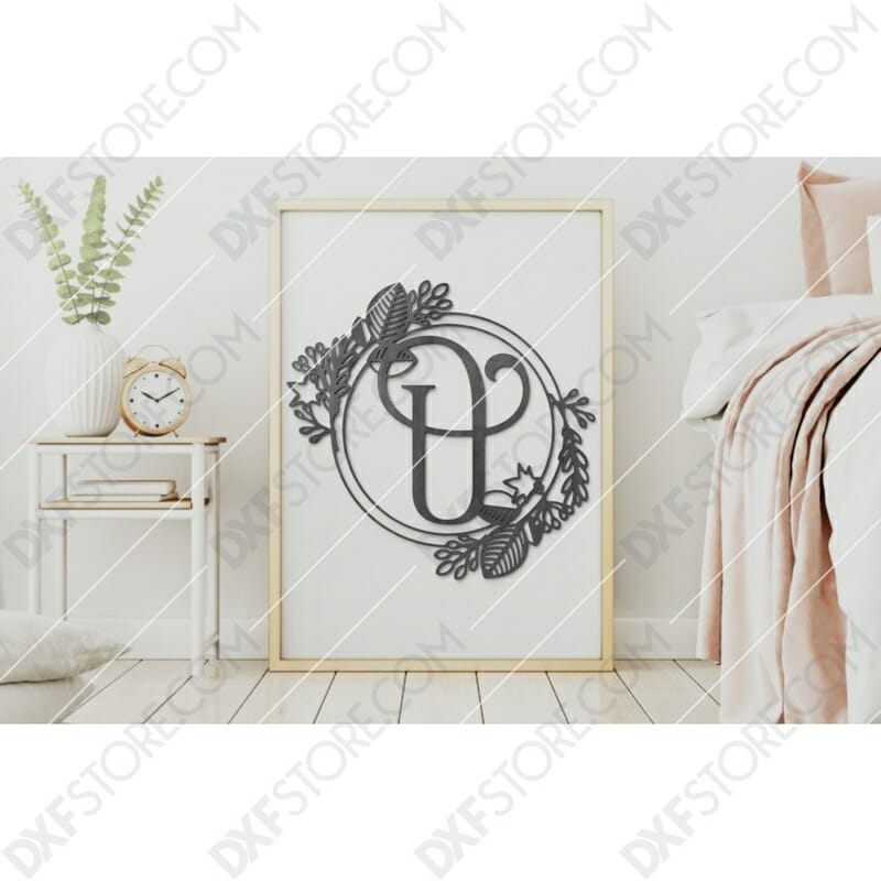 Monogram Plaque Letter U Decorative Floral Frame DXF File SVG File For CNC