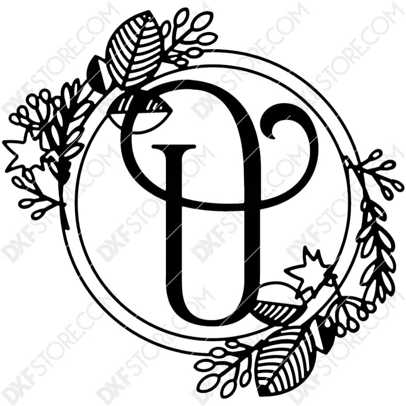 Monogram Plaque Letter U Decorative Floral Frame Plasma Cut DXF File Cut-Ready