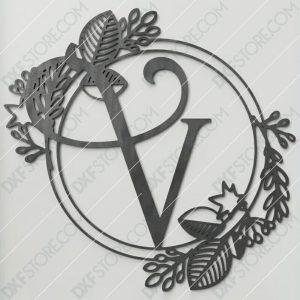 Monogram Plaque Letter V Decorative Floral Frame CNC Cut-Ready DXF File
