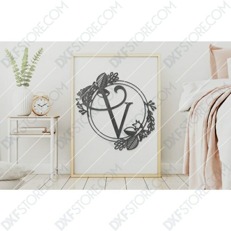 Monogram Plaque Letter V Decorative Floral Frame Plasma and Laser Cut DXF File for CNC