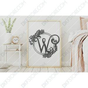 Monogram Plaque Letter W Decorative Floral Frame CNC Cut-Ready DXF File