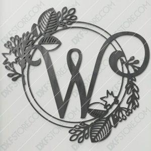 Monogram Plaque Letter W Decorative Floral Frame DXF File SVG File For CNC