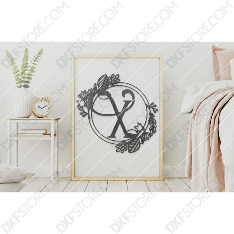 Monogram Plaque Letter X Decorative Floral Frame Plasma Cut DXF File Cut-Ready