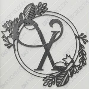 Monogram Plaque Letter X Decorative Floral Frame Plasma and Laser Cut DXF File for CNC