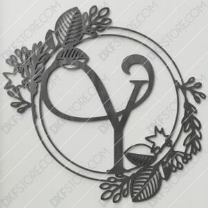 Monogram Plaque Letter Y Decorative Floral Frame Plasma and Laser Cut DXF File for CNC