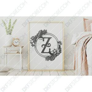 Monogram Plaque Letter Z Decorative Floral Frame CNC Cut-Ready DXF File