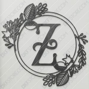 Monogram Plaque Letter Z Decorative Floral Frame Plasma Cut DXF File Cut Ready