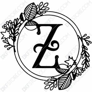 Monogram Plaque Letter Z Decorative Floral Frame Plasma and Laser Cut DXF File for CNC