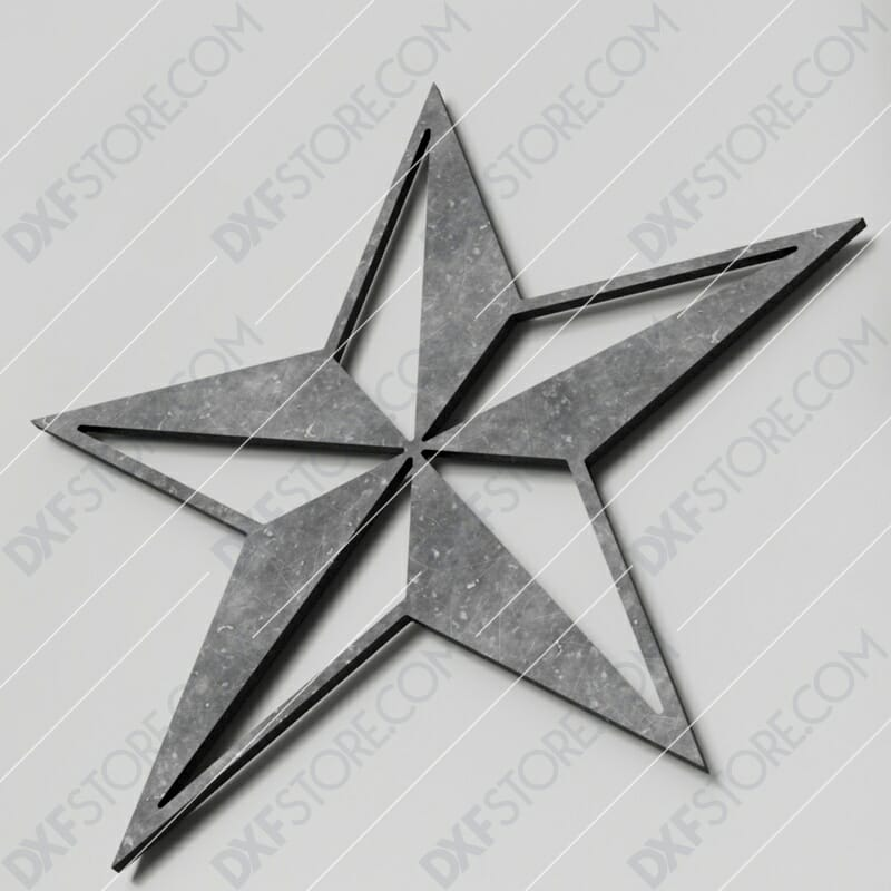 Nautical Star Free DXF File Plasma Art CNC Cut-Ready DXF File