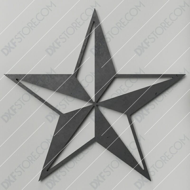 Nautical Star Free DXF File Plasma and Laser Cut DXF File for CNC