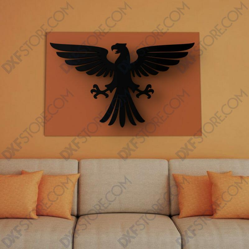 Ornamental Heraldic Eagle Free DXF File-2