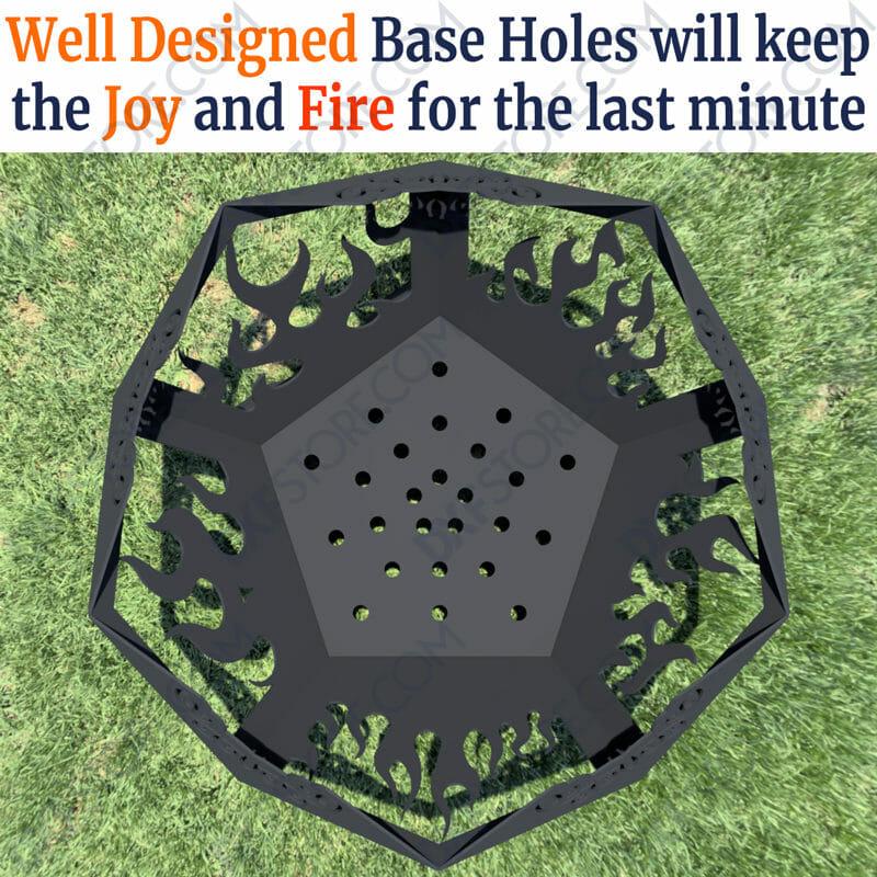 Pentagon Fire Pit 39in Base Ventilation Holes