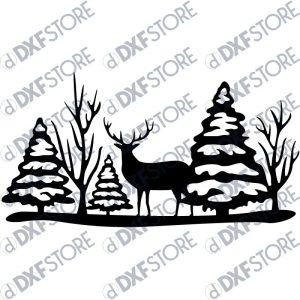 Reindeer Snow Scene