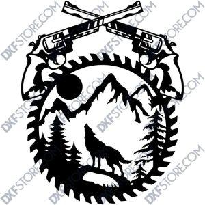 Revolvers Moaning Wolf Saw Blade Wall Art Laser Plasma Cut