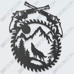 Revolvers Moaning Wolf Saw Blade Wall Art Side Plasma Laser Cut