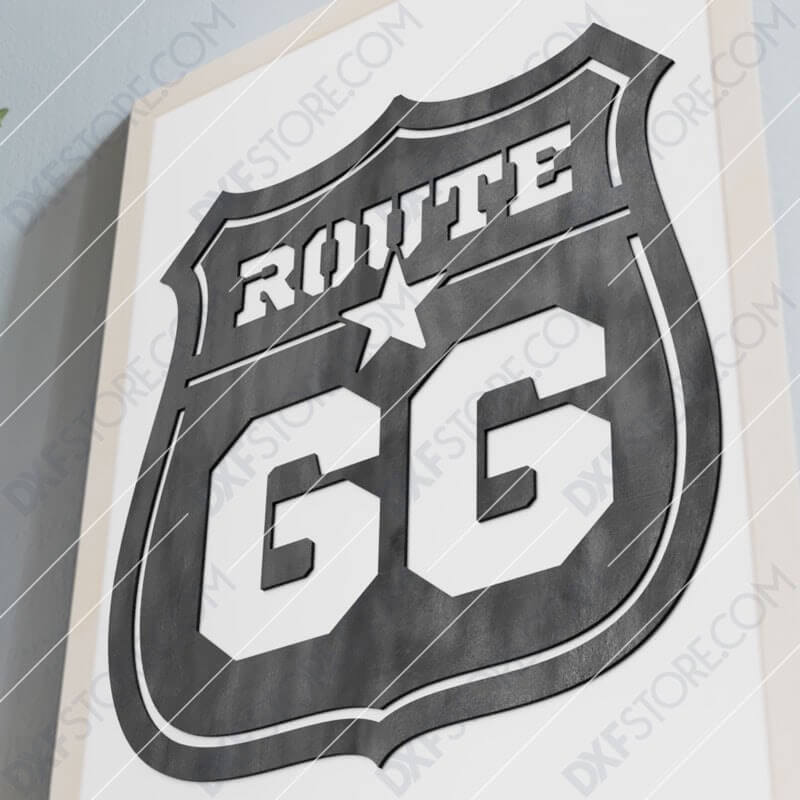 Route 66 Sign Cut-Ready Plasma Cut DXF File for CNC Plasma and Laser Cut