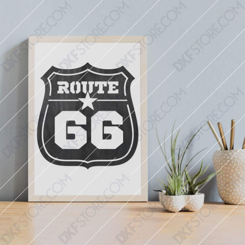 Route 66 Sign Downloadable for CNC Plasma DXF Files Download