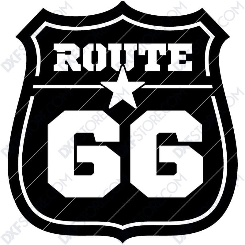 Route 66 Sign Plasma Art Metal Sign Plasma and Laser Cutter DXF File