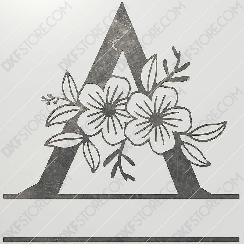 Split Monogram Elegant Floral Split Alphabet Letter A Cut-Ready Plasma Cut CNC DXF File Download Laser Cut
