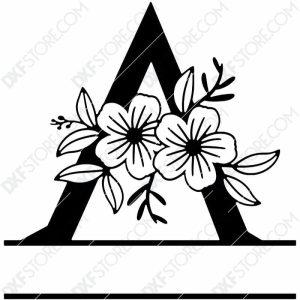 Split Monogram Elegant Floral Split Alphabet Letter A Plasma Art for CNC Plasma Cut Cut-Ready DXF File for CNC