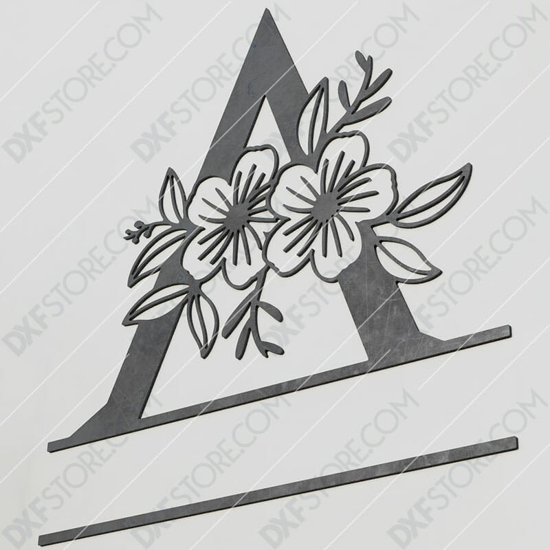 Split Monogram Elegant Floral Split Alphabet Letter A Plasma and Laser Cut for CNC Laser and Plasma Cutter