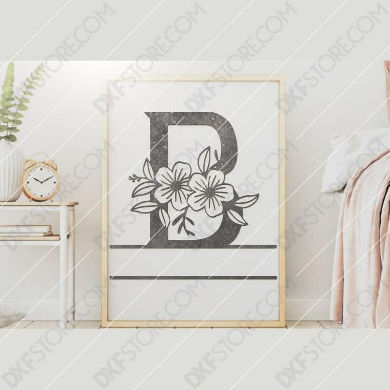 Split Monogram Elegant Floral Split Alphabet Letter B Downloadable DXF for CNC Plasma DXF Files Download
