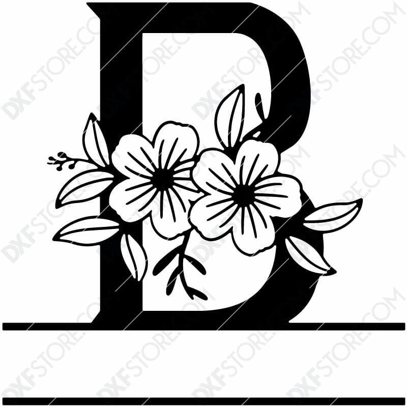 Split Monogram Elegant Floral Split Alphabet Letter B Plasma Art for CNC Plasma Cut Cut-Ready DXF File for CNC